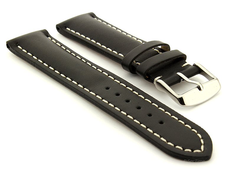 Padded Watch Strap Band CANYON Genuine Leather Black/White 22mm