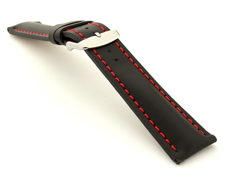 Padded Watch Strap Band CANYON Genuine Leather Black/Red 20mm