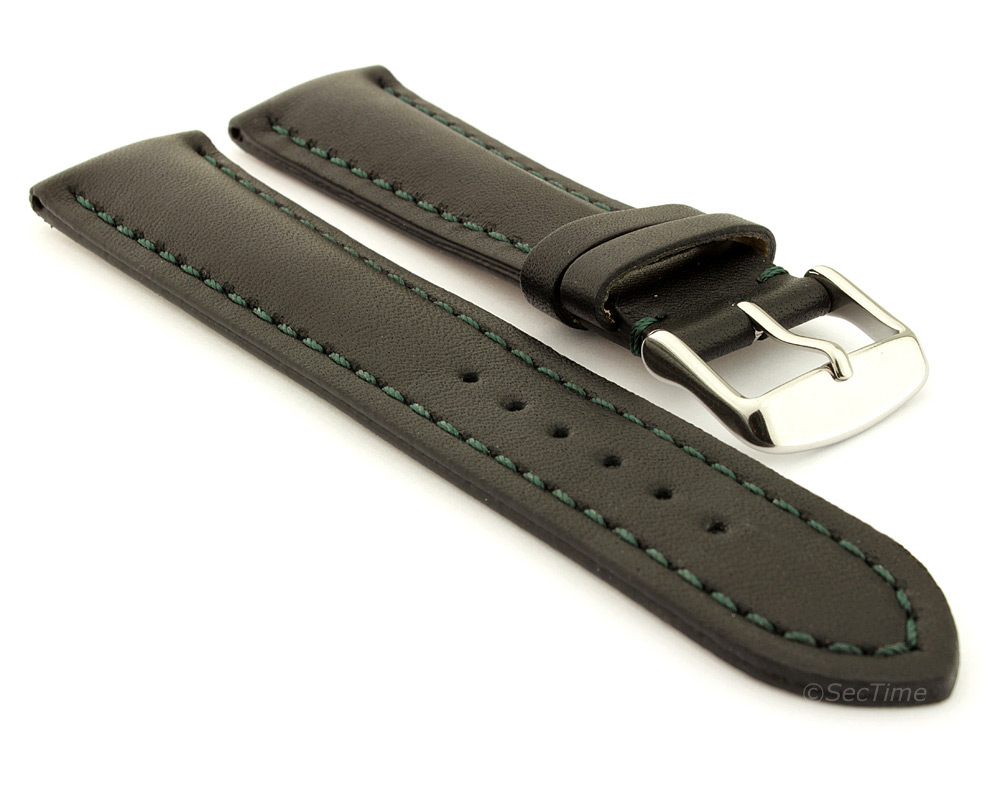 Padded Watch Strap Band CANYON Genuine Leather Black/Green 20mm