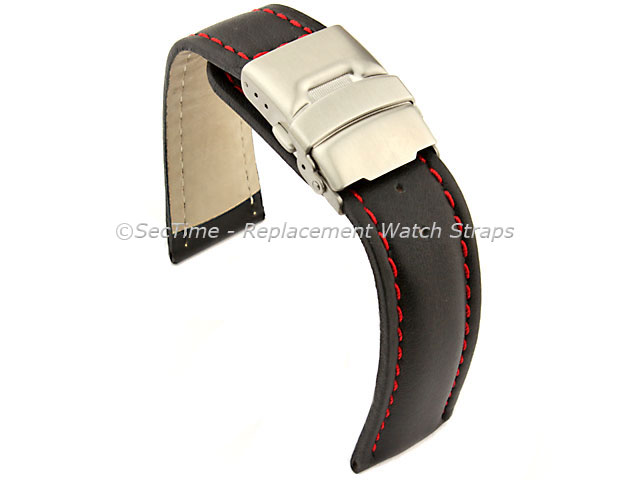Genuine Leather Watch Strap Band Canyon Deployment Clasp Black/Red 20mm