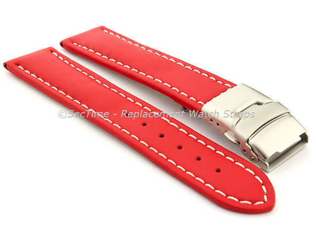 Genuine Leather Watch Strap Band Canyon Deployment Clasp Red/White 20mm