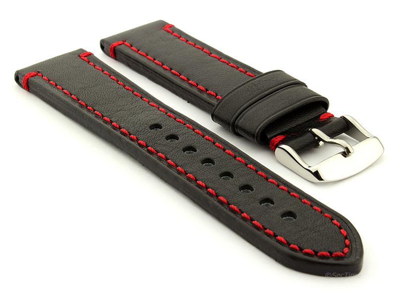 Genuine Leather WATCH STRAP Catalonia WAXED LINING Black/Red 20mm