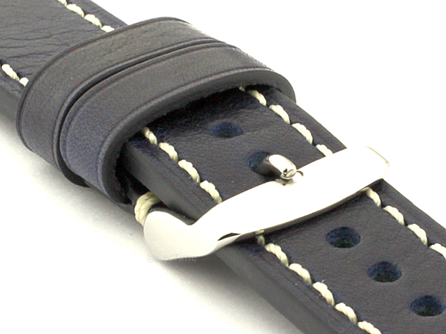 Genuine Leather WATCH STRAP Catalonia WAXED LINING Navy Blue/White 20mm