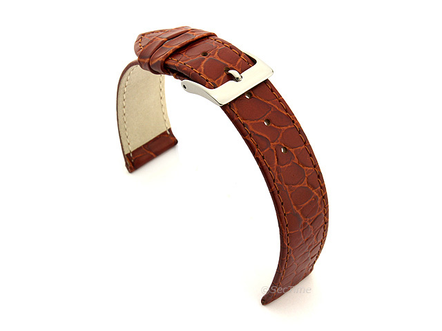 Genuine Leather Watch Strap Croco Arizona Brown 20mm