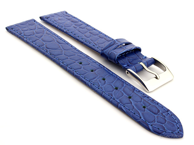 Genuine Leather Watch Strap Croco Arizona Blue 14mm