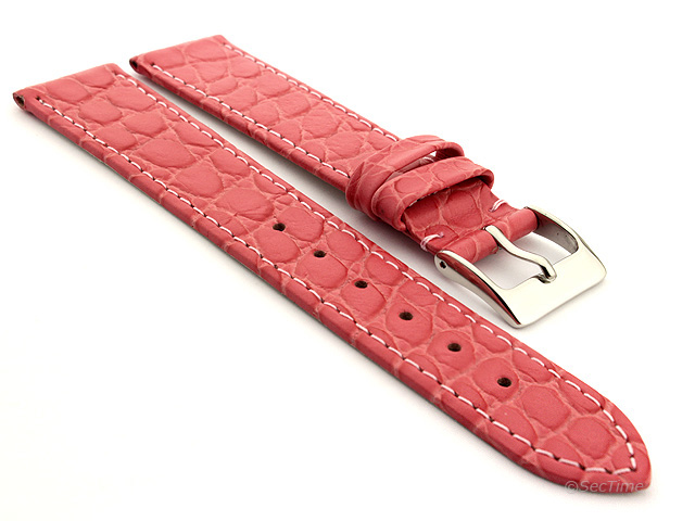 Genuine Leather Watch Strap Croco Arizona Pink 14mm