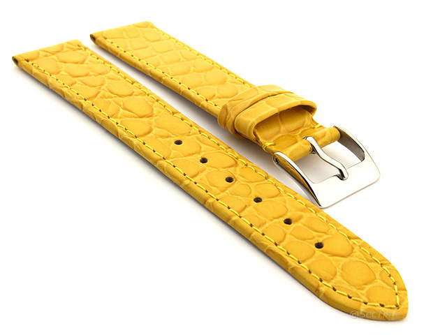 Genuine Leather Watch Strap Croco Arizona Yellow 18mm