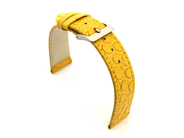 Genuine Leather Watch Strap Croco Arizona Yellow 12mm