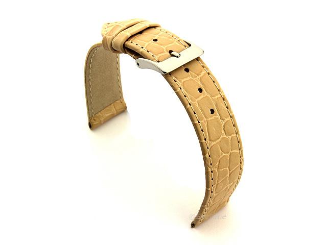 Genuine Leather Watch Strap Croco Arizona Cream 14mm