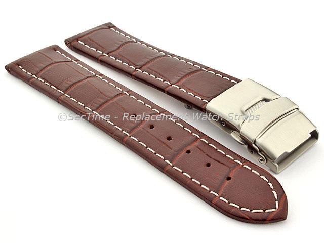 Genuine Leather Watch Strap Croco Deployment Clasp Dark Brown / White 20mm