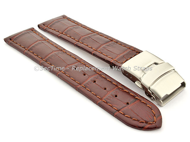 Genuine Leather Watch Strap Band Croco Deployment Clasp Dark Brown / Brown 18mm