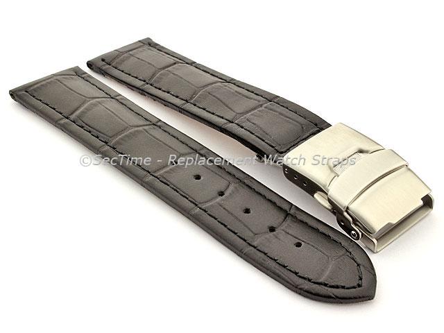 Genuine Leather Watch Strap Band Croco Deployment Clasp Black / Black 18mm