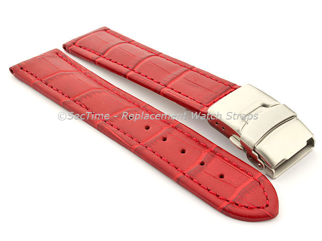 Genuine Leather Watch Strap Band Croco Deployment Clasp Red / Red 18mm