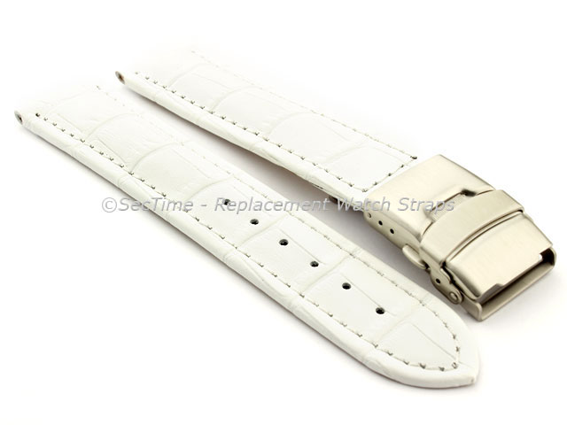 Genuine Leather Watch Strap Band Croco Deployment Clasp White / White 18mm
