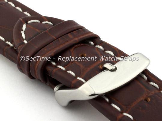 Leather Watch Strap CROCO RM Dark Brown/White 26mm