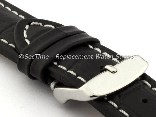 Leather Watch Strap CROCO RM Black/White 30mm
