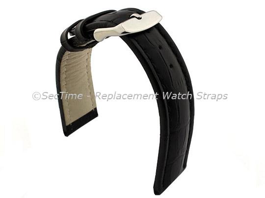 Leather Watch Strap CROCO RM Black/Black 24mm