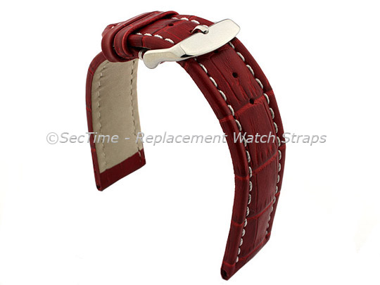 Leather Watch Strap CROCO RM Red/White 24mm
