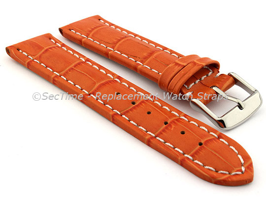 Leather Watch Strap CROCO RM Orange/White 22mm