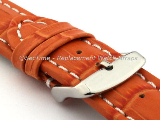 Leather Watch Strap CROCO RM Orange/White 26mm