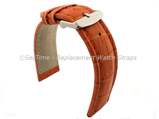 Leather Watch Strap CROCO RM Orange/Orange 22mm