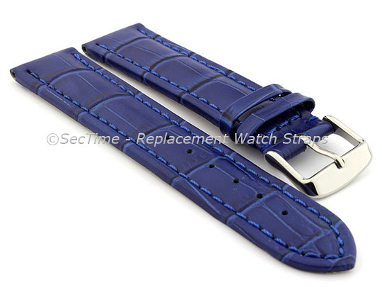 Leather Watch Strap CROCO RM Blue/Blue 22mm