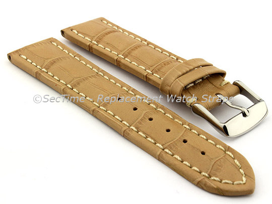 Leather Watch Strap CROCO RM Cream/White 28mm