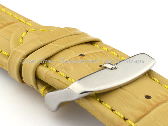 Leather Watch Strap CROCO RM Yellow/Yellow 26mm
