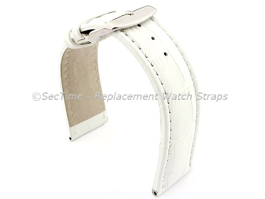 Leather Watch Strap CROCO RM White/White 22mm
