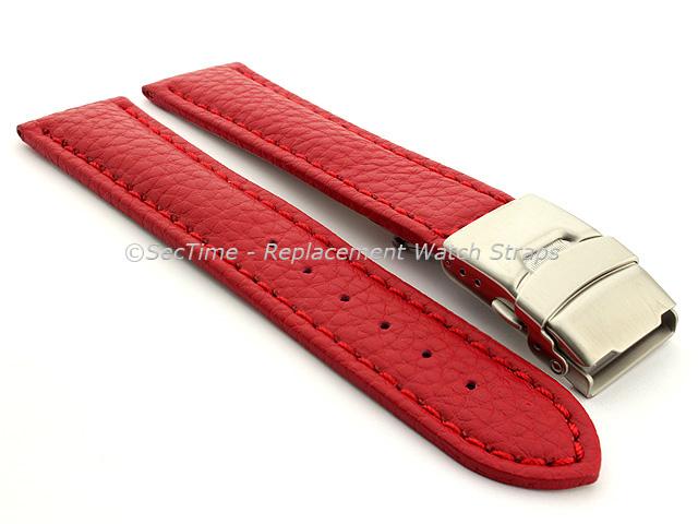 Genuine Leather Watch Strap Freiburg Deployment Clasp  Red / Red 22mm