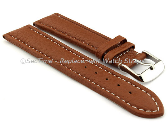 Watch Strap Band Freiburg RM Genuine Leather 28mm Brown/White