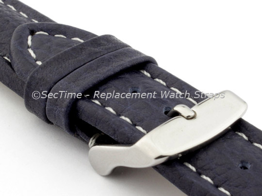 Watch Strap Band Freiburg RM Genuine Leather 22mm Navy Blue/White