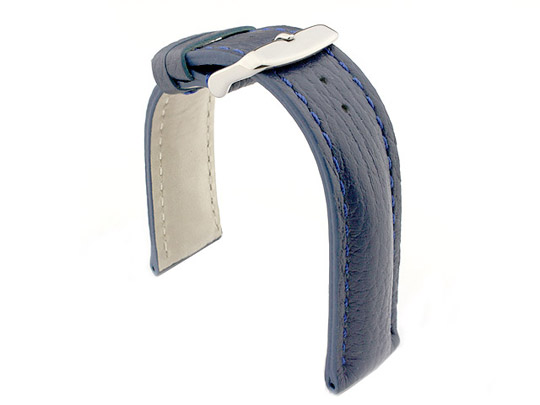 Padded Watch Strap Genuine Leather FREIBURG VIP Blue/Blue 22mm
