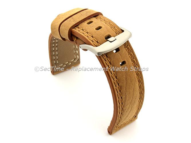 Waterproof Leather Watch Strap Galaxy Brown 22mm