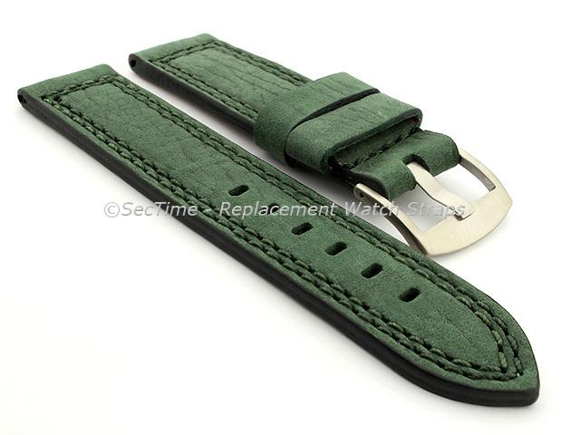 Waterproof Leather Watch Strap Galaxy Green 22mm