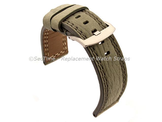 Waterproof Leather Watch Strap Galaxy Grey 24mm