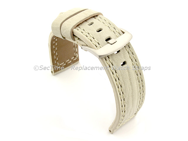 Waterproof Leather Watch Strap Galaxy Cream 28mm