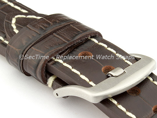 Genuine Leather Watch Strap CROCO GRAND PANOR Dark Brown/White 20mm