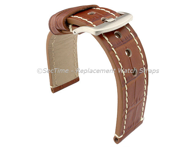 Genuine Leather Watch Strap CROCO GRAND PANOR Brown/White 20mm