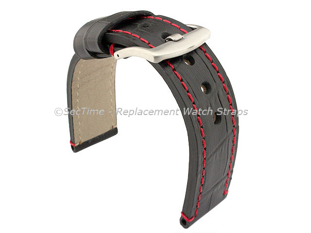 Genuine Leather Watch Strap CROCO GRAND PANOR Black/Red 20mm