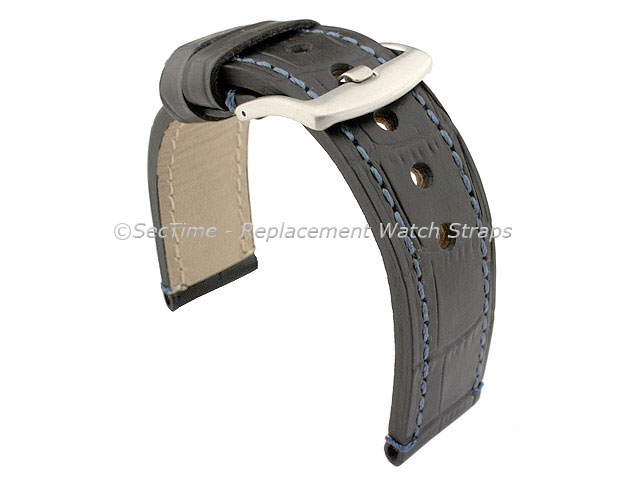 Genuine Leather Watch Strap CROCO GRAND PANOR Black/Blue 20mm