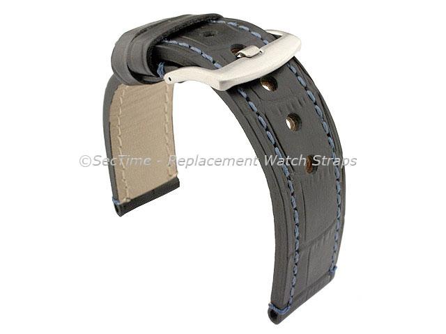 Genuine Leather Watch Strap CROCO GRAND PANOR Black/Blue 22mm