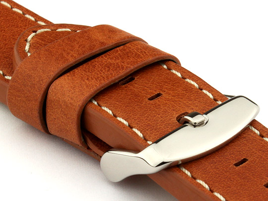 22mm Brown (Tan)/White - HAVANA Genuine Leather Watch Strap / Band