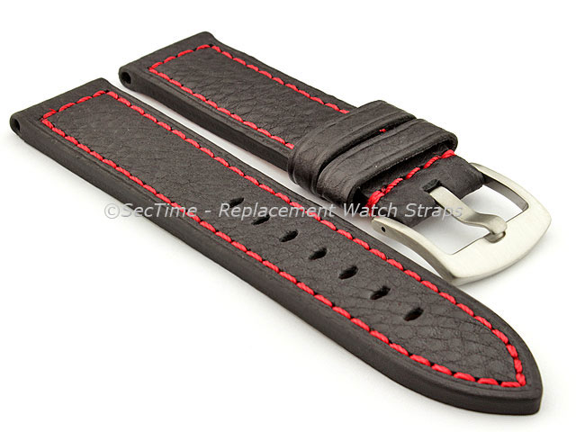 Replacement WATCH STRAP Luminor Genuine Leather ???Black/???Red 20mm