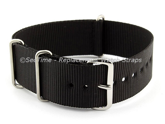 NATO G10 Watch Strap Military Nylon Divers (3 rings) Black 20mm