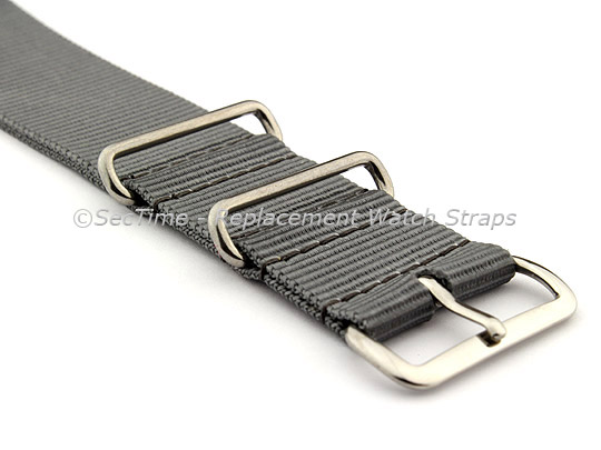 NATO G10 Watch Strap Military Nylon Divers (3 rings) Ash Grey 20mm
