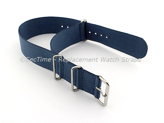NATO G10 Watch Strap Military Nylon Divers (3 rings) Navy Blue 24mm