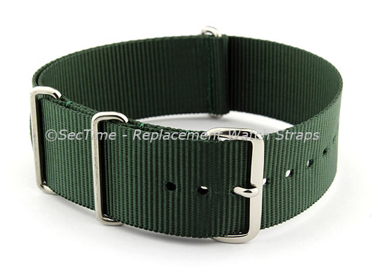 NATO G10 Watch Strap Military Nylon Divers (3 rings) Green 20mm