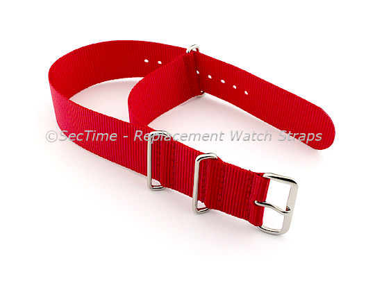 NATO G10 Watch Strap Military Nylon Divers (3 rings) Red 20mm