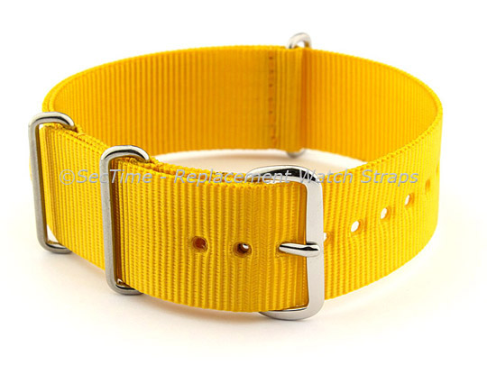 NATO G10 Watch Strap Military Nylon Divers (3 rings) Yellow 24mm
